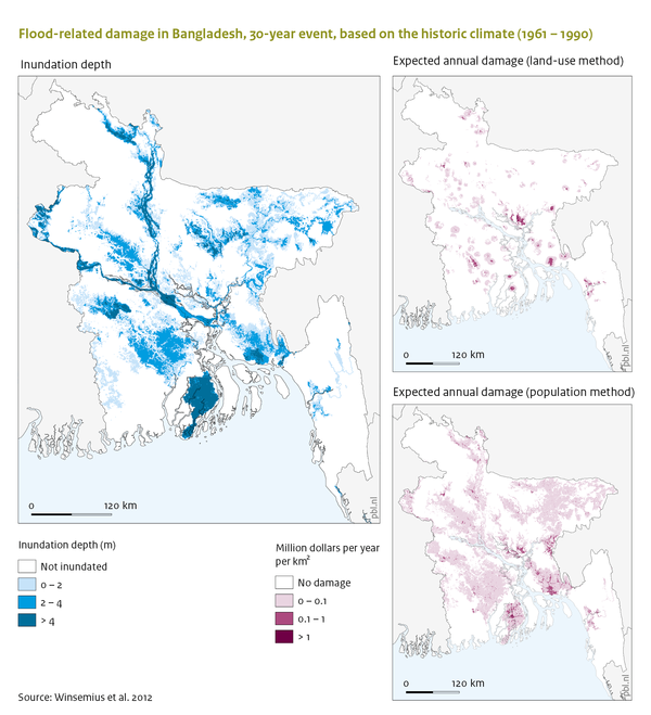 Flood-related damage in Bangladesh, 30-year event, based on the historic climate (1961-1990)